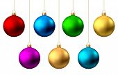 Realistic  Red, Gold, Silver, Blue, Green, Pink, Purple  Christmas  Balls  Isolated On White Backgro poster