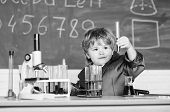 Kid Study Biology Chemistry. Boy Microscope And Test Tubes School Classroom. Basic Knowledge Primary poster