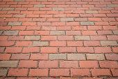 Textured Red Brick Sidewalk Background With Receding Perspective poster