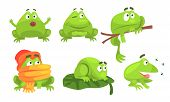 Cute Green Frog Cartoon Character Of Different Activities Set, Funny Amphibian Animal With Various E poster