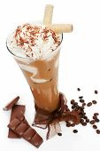 stock photo of frappe  - Luxurious delicious iced coffee with foam with chocolate and coffee beans isolated on white - JPG