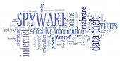 Spyware Virus - Computer Security Breach Concept. Word Cloud. poster