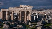 Ruins Of Propylaea -monumental Gateway In The Acropolis Of Athens, Attica, Greece poster