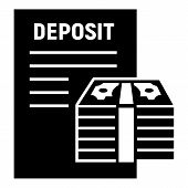 Money Deposit Icon. Simple Illustration Of Money Deposit Vector Icon For Web Design Isolated On Whit poster