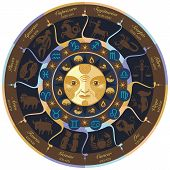 foto of centaur  - Horoscope wheel with european zodiac signs and symbols - JPG