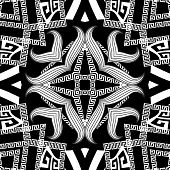 Abstract Black And White Vector Seamless Pattern. Greek Style Ornamenal Geometric Background. Repeat poster