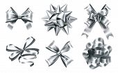 Realistic Silver Foil Bows. Decorative Bow, Metallic Favor Ribbon And Christmas Gift Bows Signs. Lux poster