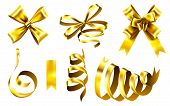 Realistic Gold Bows. Decorative Golden Favor Ribbon, Christmas Gift Wrapping Bow And Shiny Ribbons.  poster
