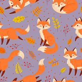 Seamless Foxes Pattern. Autumn Fox, Cute Orange Animal Poster. Golden Season Foxy With Leaf Greeting poster