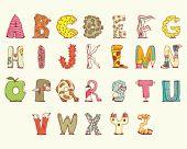 Joyful Cartoon font - letter from A to Z, vector clip art