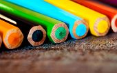 Many colorful pencils, abstract art background, different multi-colored wooden pencils, art equipmen poster