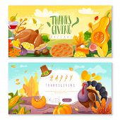 Thanksgiving Day Horizontal Banners. Two Horizontal Banners In Cartoon Style On The Theme Of Thanksg poster