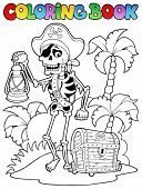 Coloring book with pirate topic 8 - vector illustration.