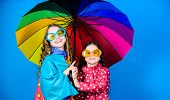 It Is Easier To Be Happy Together. Be Rainbow In Someones Cloud. Walk Under Umbrella. Kids Girls Hap poster