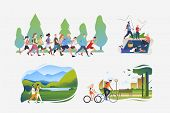 Active Lifestyle Illustration Collection. People Running In Crowd, Hiking, Fishing, Riding Bikes. Ac poster