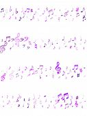 Violet Flying Musical Notes Isolated On White Backdrop. Purple Musical Notation Symphony Signs, Note poster