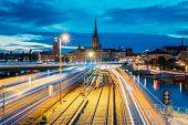 Stockholm, Sweden. Scenic View Of Stockholm Skyline At Summer Evening Night. Famous Popular Destinat poster