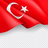 Turkey Patriotic Web Banner With 3d Flag. Realistic Fluttering Turkish Flag On Transparent Backgroun poster