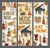 Acoustic Music, Folk, Jazz And Orchestra Musical Instruments. Vector Contrabass And Harp, Piano And  poster