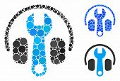 Headphones Tuning Wrench Mosaic For Headphones Tuning Wrench Icon Of Round Dots In Various Sizes And poster