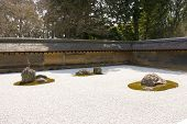 Rock Garden In Ryoan-ji Temple, Kyoto, Japan.