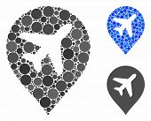 Airplane Mosaic For Airplane Icon Of Small Circles In Various Sizes And Color Hues. Vector Filled Ci poster