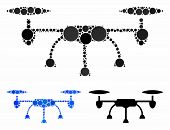 Air Drone Mosaic For Air Drone Icon Of Round Dots In Variable Sizes And Color Hues. Vector Filled Ci poster