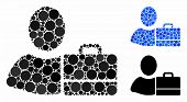 Accounter Composition For Accounter Icon Of Round Dots In Various Sizes And Color Tints. Vector Roun poster