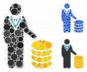 Coins Investor Composition For Coins Investor Icon Of Round Dots In Variable Sizes And Color Tones.  poster