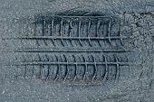 Tyre Tread Imprint In Asphalt