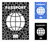 World Passport Mosaic For World Passport Icon Of Round Dots In Variable Sizes And Color Tinges. Vect poster