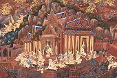 Ramayana schilderijen aan de muur, Wat Nangphaya, Phit Sa Nu Lok, Thailand