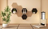 Wooden Hexagon Shelf And Wooden Hexagon Tiles Design On Japan Ryokan Design Tatami Mat And Wooden Wa poster