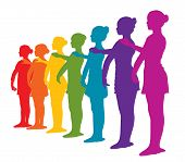 Rainbow Colored Row Of Seven Ballerinas Girls. Rainbow Colors Silhouettes Of Seven Ballerinas Standi poster