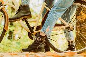 Shoes For Active Lifestyle. Romantic Couple On Date. Date And Love. Couple In Love Ride Bicycle In P poster