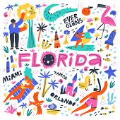 Florida Beach Summer Rest Flat Vector Illustration. State And Town Names Handwritten Lettering. Holi poster