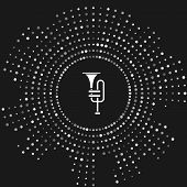 White Musical Instrument Trumpet Icon Isolated On Grey Background. Abstract Circle Random Dots. Vect poster
