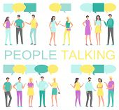 People Talking And Discussing Something Poster Vector. Human With Smartphone In Hands And Thought Bu poster