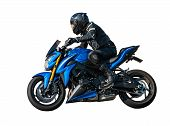 Sport Rider Motorcyclist On White Isolated Background poster