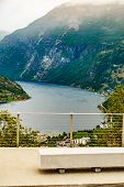 Flydalsjuvet View Point, Lower Plateau With Lookout Seat. Geiranger Fjord Landscape. National Touris poster