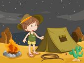 stock photo of baby cowboy  - Illustration of boy camping in the desert - JPG