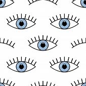 Abstract Seamless Sport Eyes Pattern For Girls, Boys. Creative Sport Vector Pattern With Psychodelic poster