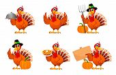 Happy Thanksgiving, Greeting Card, Poster Or Flyer For Holiday, Set Of Six Poses. Thanksgiving Turke poster
