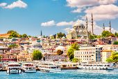 Touristic Sightseeing Ships In Golden Horn Bay Of Istanbul And View On Suleymaniye Mosque With Sulta poster