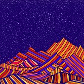 Fantastic Hippie Style Psychedelic Landscape With Mountains In The Form Of Colorful Stripes And Of B poster