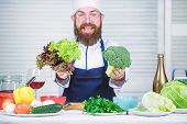 Healthy Vegetarian Recipe. I Choose Only Healthy Ingredients. Man Cook Hat And Apron Hold Broccoli.  poster