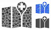 Map Mosaic Of Small Circles In Different Sizes And Color Tints, Based On Map Icon. Vector Small Circ poster