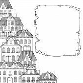 City sketch, houses background for your design.