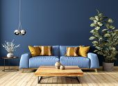 Modern Interior Design Of Living Room With Sofa, Wooden Coffee Table, Plant, Against Blue Wall 3d Re poster