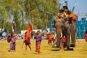 Thai King Enter Battle Elephant Close